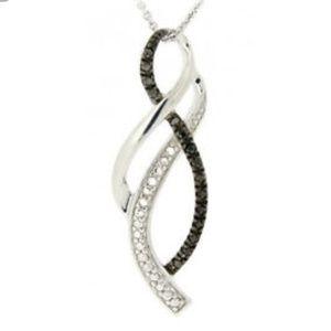 New 925 black diamond ribbon twist infinity neckla
